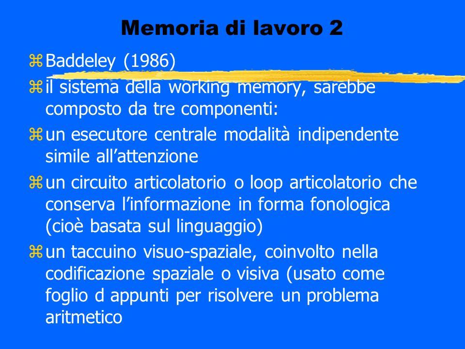 Memoria di lavoro 2 zBaddeley (1986) zil sistema della working memory, sarebbe composto da tre componenti: zun esecutore centrale modalità indipendent