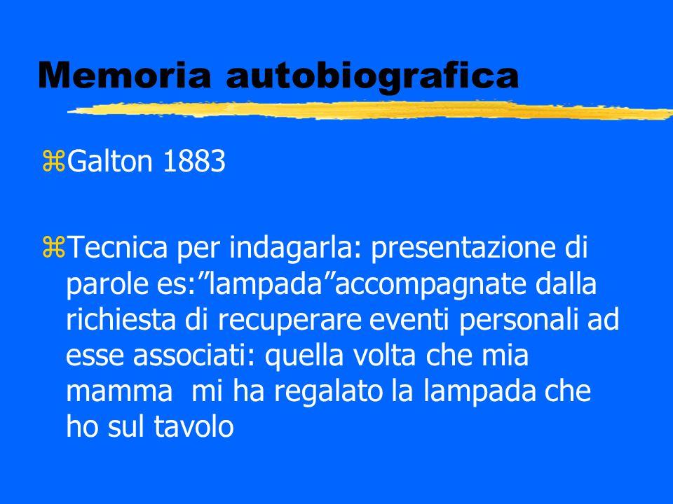 Memoria autobiografica zGalton (1883) ztecnica per indagarla: presentazione di parole es: lampadaaccompagnate dalla richiesta di recuperare eventi ad essa associati.