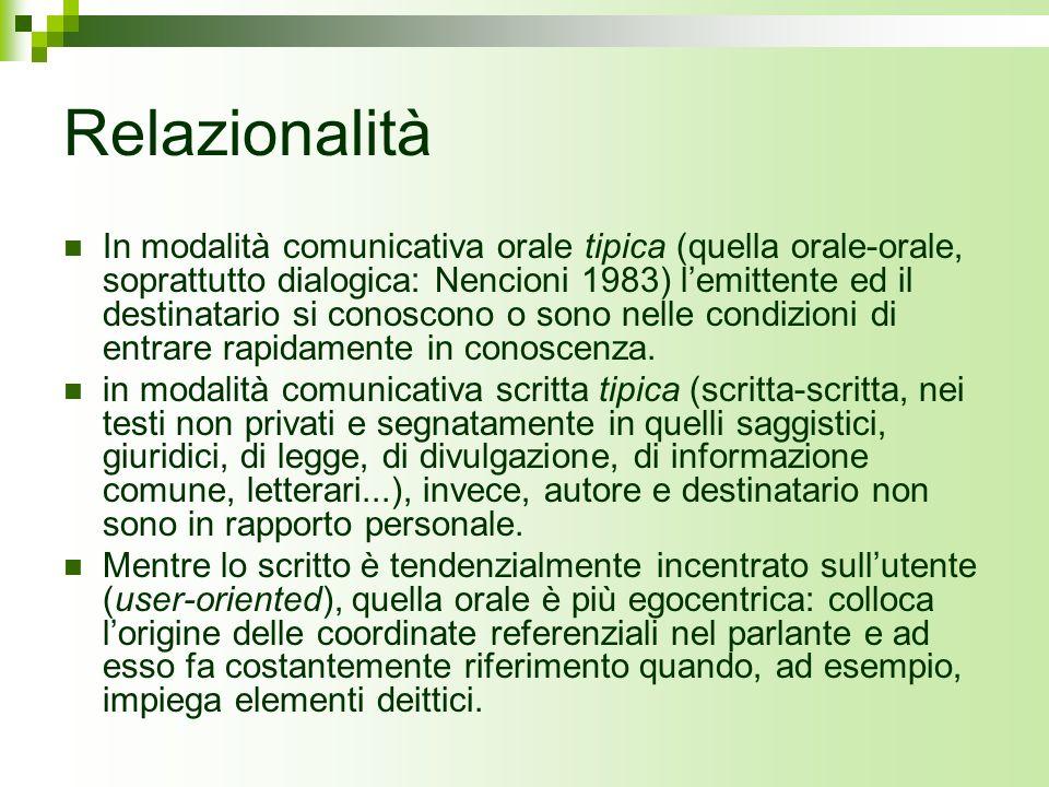 Relazionalità In modalità comunicativa orale tipica (quella orale-orale, soprattutto dialogica: Nencioni 1983) lemittente ed il destinatario si conosc