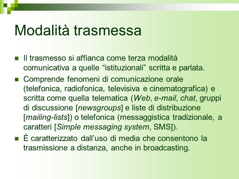 Modalità trasmessa Il trasmesso si affianca come terza modalità comunicativa a quelle istituzionali scritta e parlata. Comprende fenomeni di comunicaz