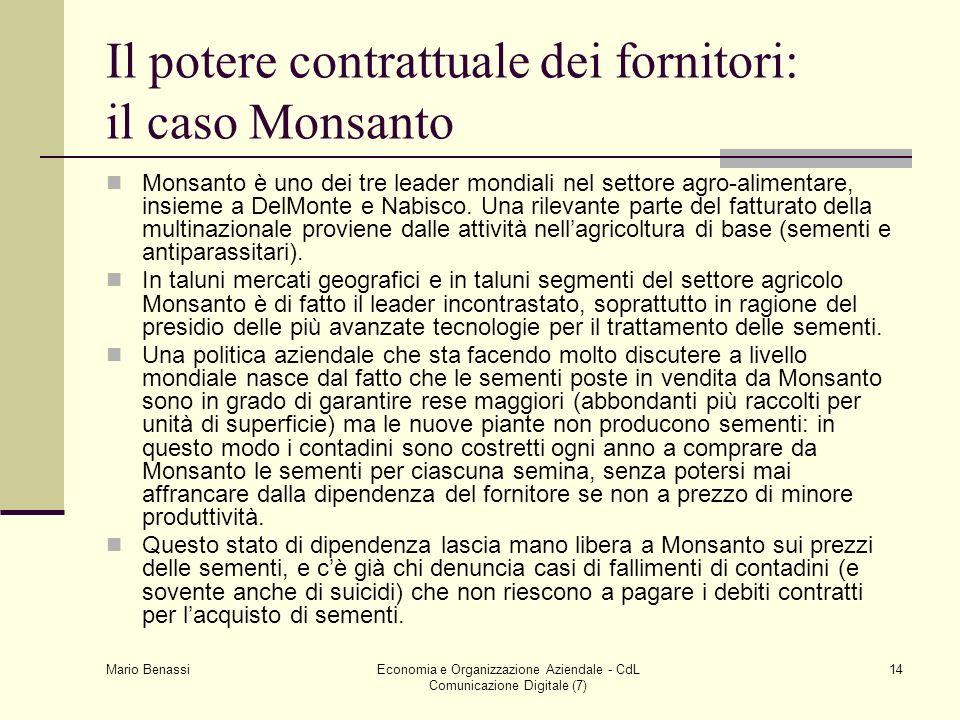 Mario Benassi Economia e Organizzazione Aziendale - CdL Comunicazione Digitale (7) 14 Il potere contrattuale dei fornitori: il caso Monsanto Monsanto è uno dei tre leader mondiali nel settore agro-alimentare, insieme a DelMonte e Nabisco.