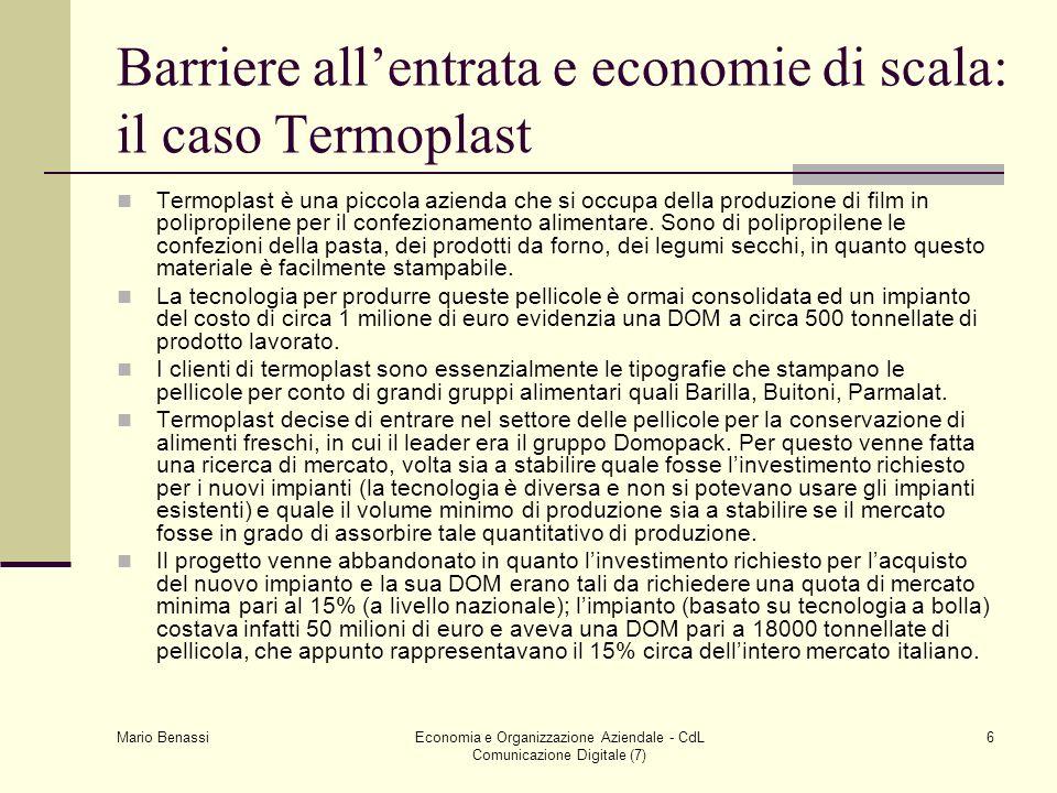 Mario Benassi Economia e Organizzazione Aziendale - CdL Comunicazione Digitale (7) 6 Barriere allentrata e economie di scala: il caso Termoplast Termoplast è una piccola azienda che si occupa della produzione di film in polipropilene per il confezionamento alimentare.