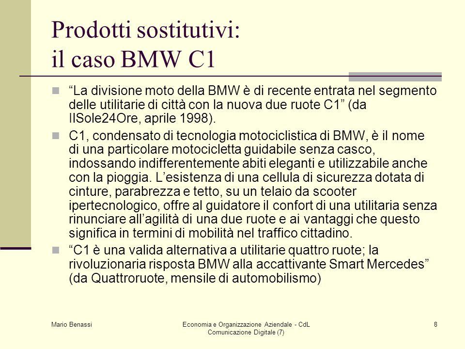 Mario Benassi Economia e Organizzazione Aziendale - CdL Comunicazione Digitale (7) 8 Prodotti sostitutivi: il caso BMW C1 La divisione moto della BMW è di recente entrata nel segmento delle utilitarie di città con la nuova due ruote C1 (da IlSole24Ore, aprile 1998).