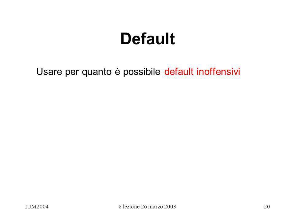 IUM20048 lezione 26 marzo 200320 Default Usare per quanto è possibile default inoffensivi