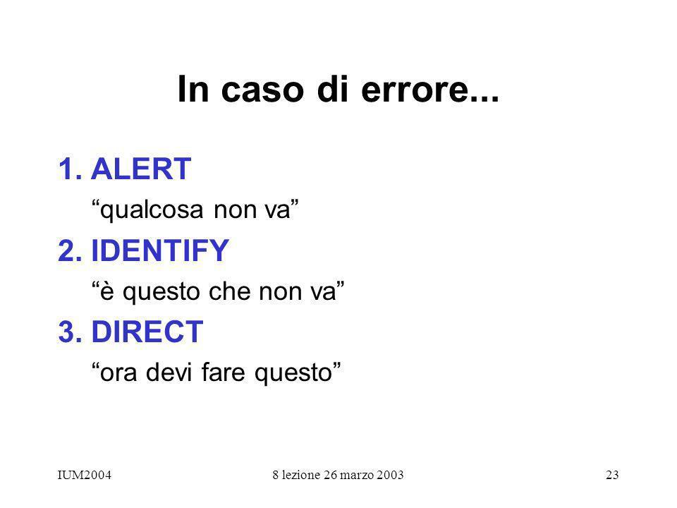 IUM20048 lezione 26 marzo 200323 In caso di errore... 1. ALERT qualcosa non va 2. IDENTIFY è questo che non va 3. DIRECT ora devi fare questo