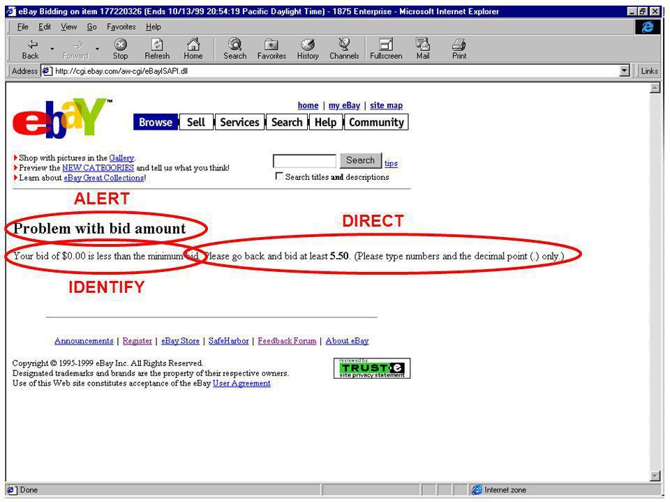 IUM20048 lezione 26 marzo 200324 ALERT IDENTIFY DIRECT