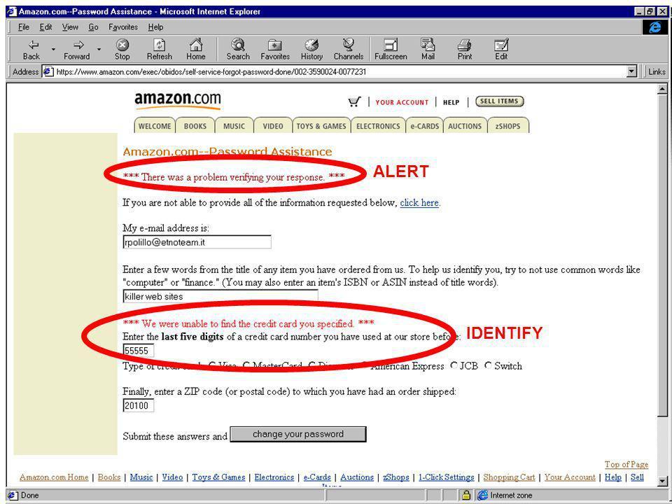 IUM20048 lezione 26 marzo 200326 ALERT IDENTIFY