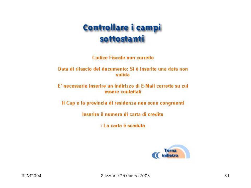 IUM20048 lezione 26 marzo 200331