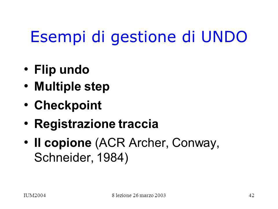 IUM20048 lezione 26 marzo 200342 Esempi di gestione di UNDO Flip undo Multiple step Checkpoint Registrazione traccia Il copione (ACR Archer, Conway, Schneider, 1984)