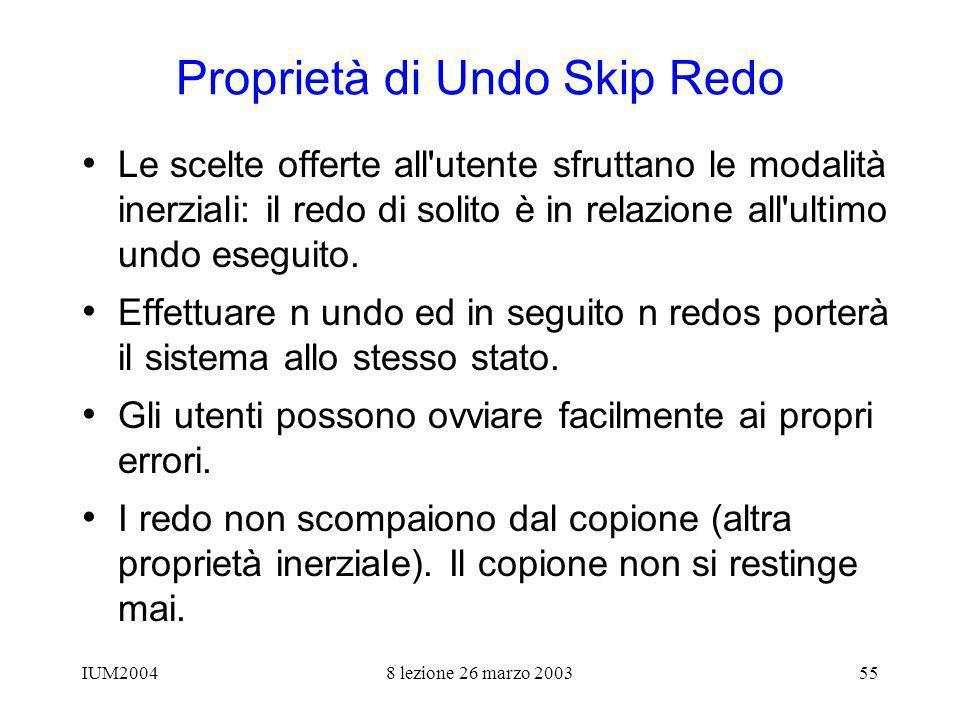 IUM20048 lezione 26 marzo 200355 Proprietà di Undo Skip Redo Le scelte offerte all utente sfruttano le modalità inerziali: il redo di solito è in relazione all ultimo undo eseguito.
