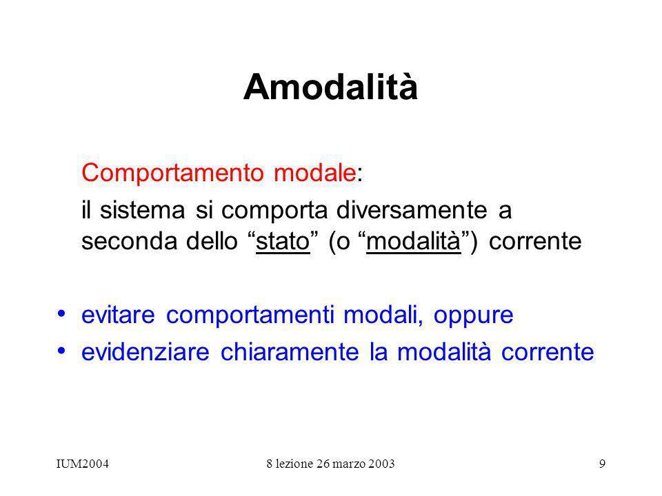 IUM20048 lezione 26 marzo 20039 Amodalità Comportamento modale: il sistema si comporta diversamente a seconda dello stato (o modalità) corrente evitar