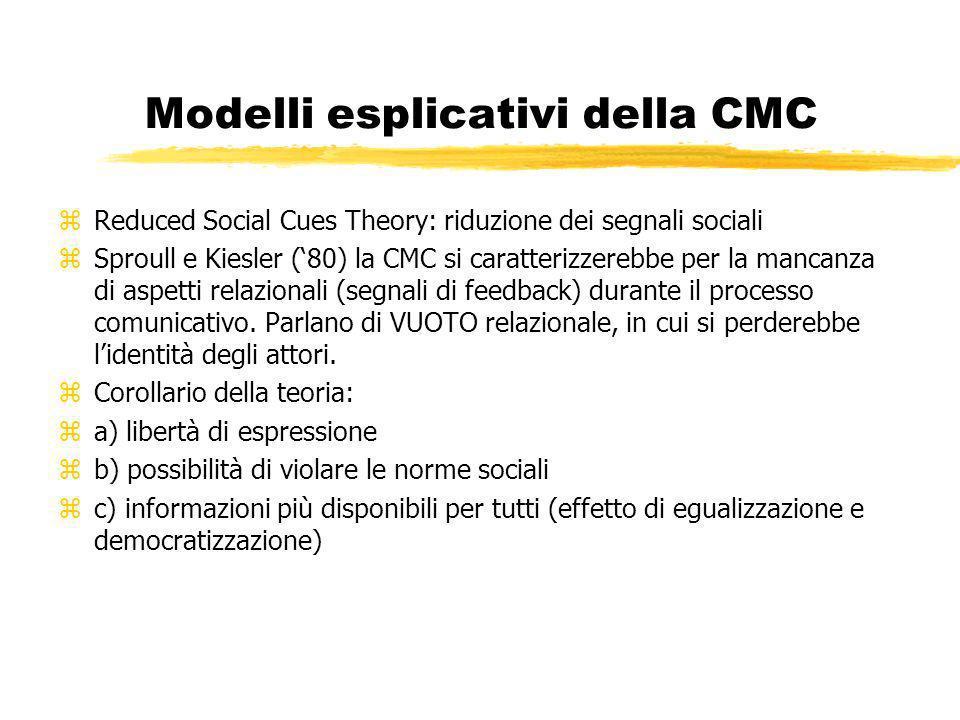 Modelli esplicativi della CMC zReduced Social Cues Theory: riduzione dei segnali sociali zSproull e Kiesler (80) la CMC si caratterizzerebbe per la mancanza di aspetti relazionali (segnali di feedback) durante il processo comunicativo.