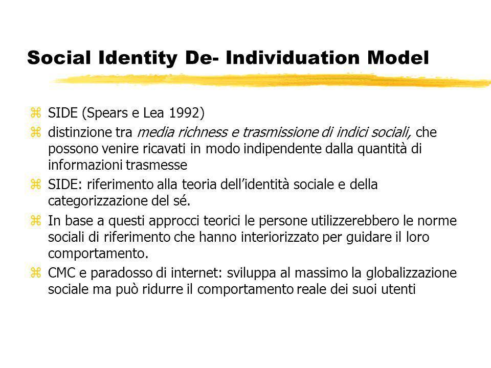 Social Identity De- Individuation Model zSIDE (Spears e Lea 1992) zdistinzione tra media richness e trasmissione di indici sociali, che possono venire ricavati in modo indipendente dalla quantità di informazioni trasmesse zSIDE: riferimento alla teoria dellidentità sociale e della categorizzazione del sé.