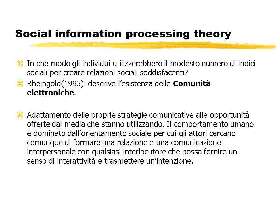 Social information processing theory zIn che modo gli individui utilizzerebbero il modesto numero di indici sociali per creare relazioni sociali soddisfacenti.