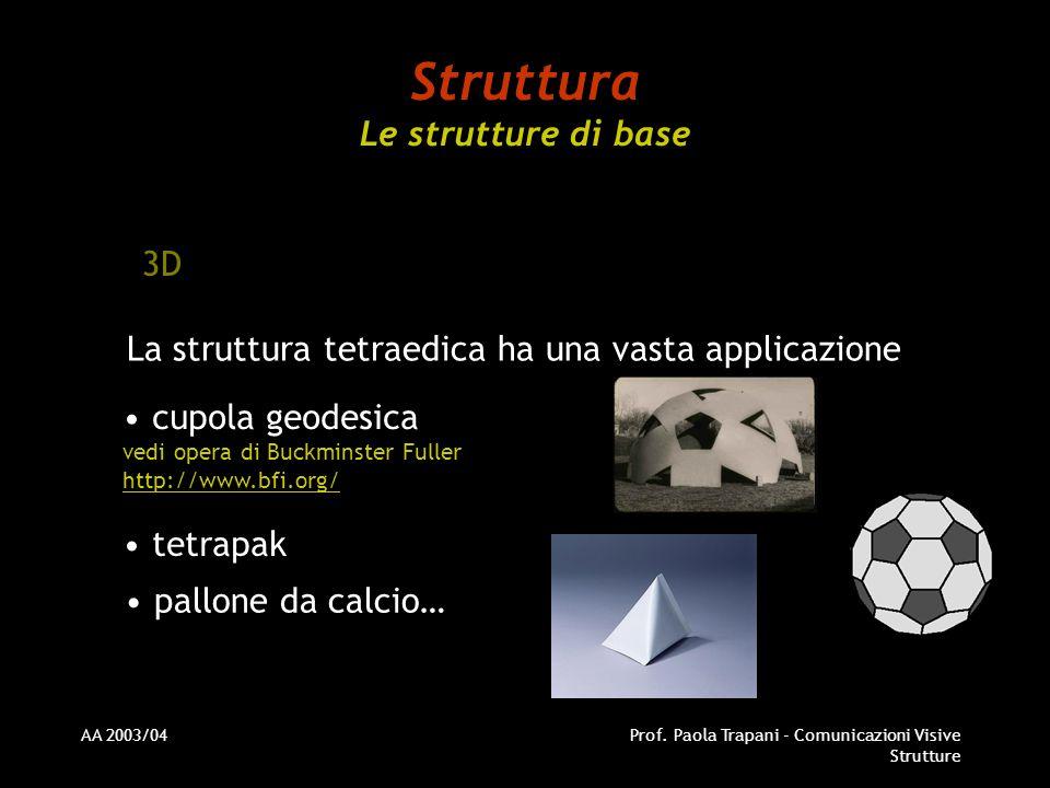 AA 2003/04Prof. Paola Trapani - Comunicazioni Visive Strutture Struttura Le strutture di base 3D La struttura tetraedica ha una vasta applicazione cup