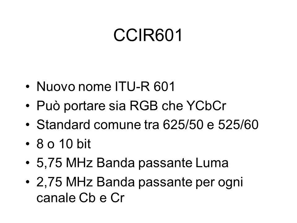 CCIR601 Nuovo nome ITU-R 601 Può portare sia RGB che YCbCr Standard comune tra 625/50 e 525/60 8 o 10 bit 5,75 MHz Banda passante Luma 2,75 MHz Banda