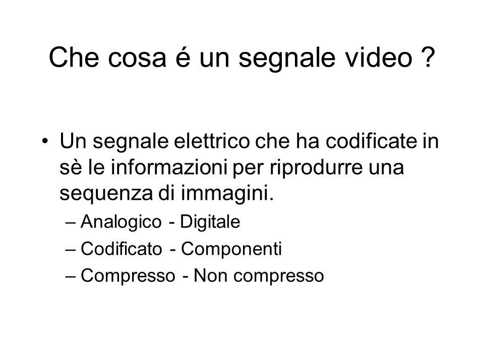 Che cosa é un segnale video ? Un segnale elettrico che ha codificate in sè le informazioni per riprodurre una sequenza di immagini. –Analogico - Digit