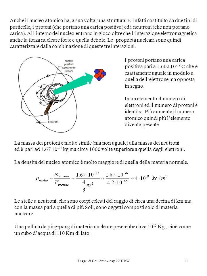 Legge di Coulomb - cap 22 HRW11 La massa dei protoni è molto simile (ma non uguale) alla massa dei neutroni ed è pari ad 1.67 10 -27 kg ma circa 1000