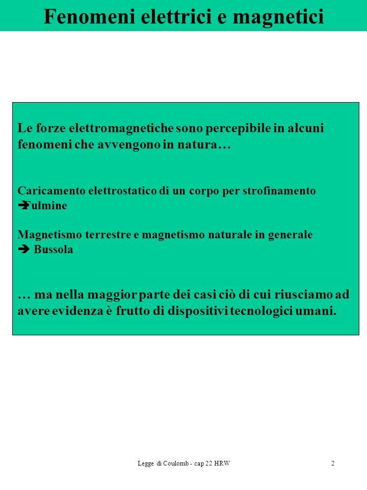 Legge di Coulomb - cap 22 HRW2 Fenomeni elettrici e magnetici Le forze elettromagnetiche sono percepibile in alcuni fenomeni che avvengono in natura…