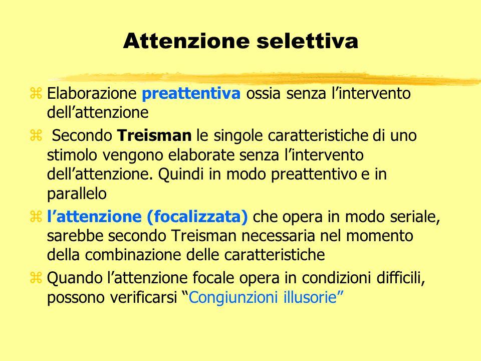 Attenzione selettiva zElaborazione preattentiva ossia senza lintervento dellattenzione z Secondo Treisman le singole caratteristiche di uno stimolo ve