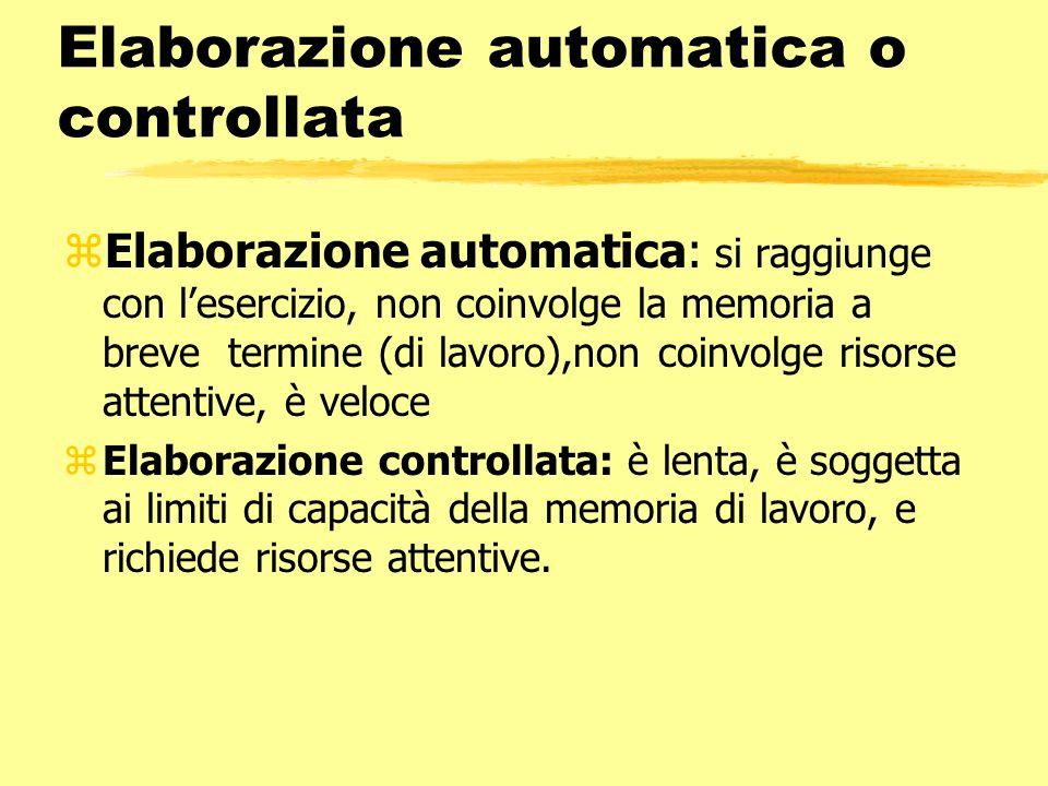 Elaborazione automatica o controllata zElaborazione automatica: si raggiunge con lesercizio, non coinvolge la memoria a breve termine (di lavoro),non