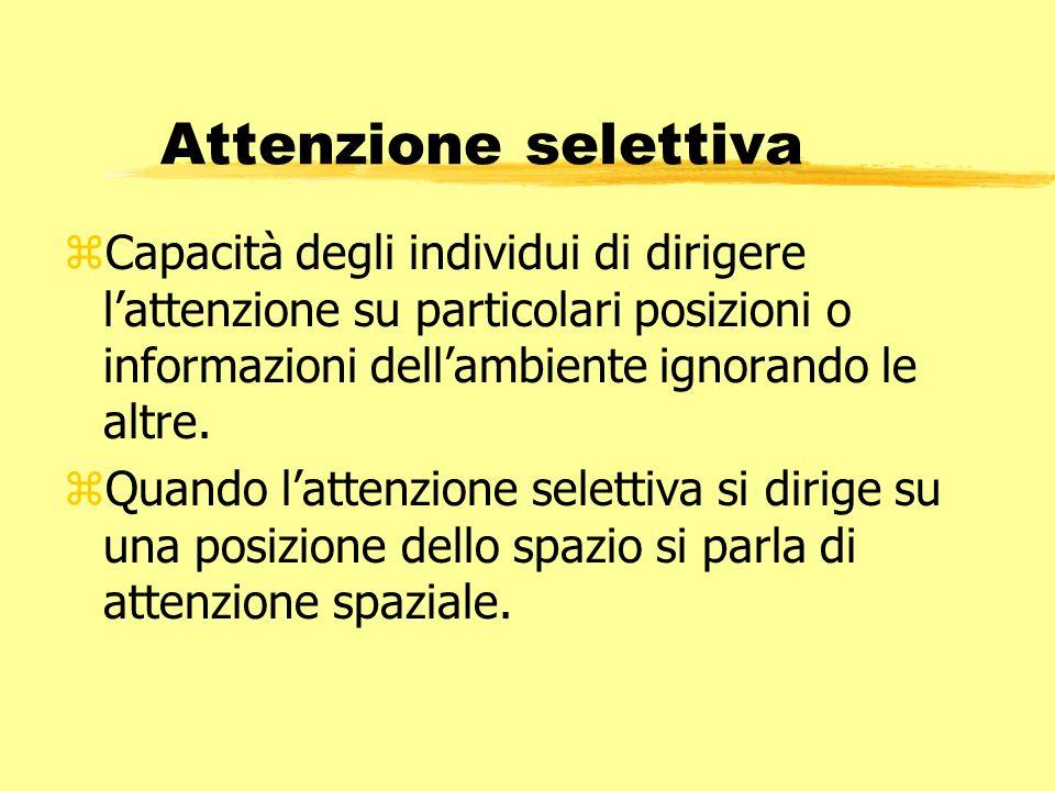 Attenzione selettiva zCapacità degli individui di dirigere lattenzione su particolari posizioni o informazioni dellambiente ignorando le altre. zQuand