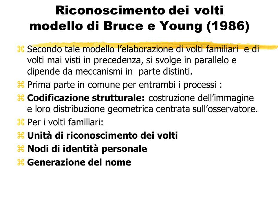 Riconoscimento dei volti modello di Bruce e Young (1986) zSecondo tale modello lelaborazione di volti familiari e di volti mai visti in precedenza, si