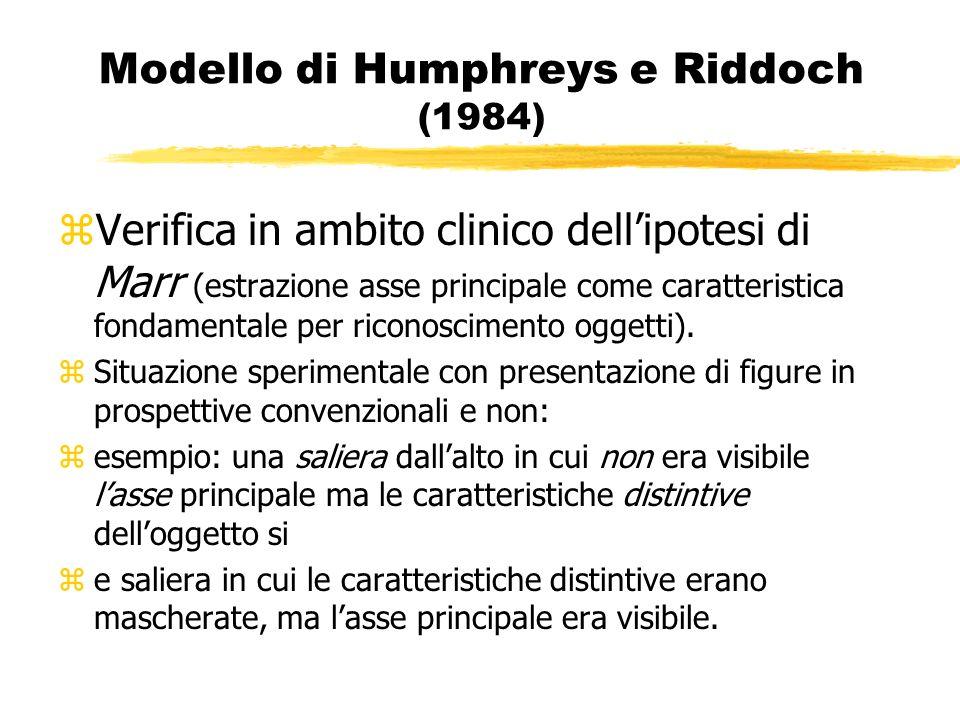 Modello di Humphreys e Riddoch (1984) zVerifica in ambito clinico dellipotesi di Marr (estrazione asse principale come caratteristica fondamentale per