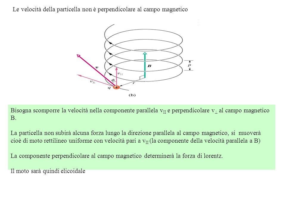 Bisogna scomporre la velocità nella componente parallela v II e perpendicolare v al campo magnetico B. La particella non subirà alcuna forza lungo la