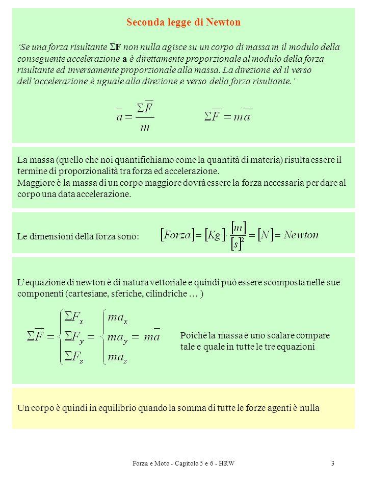 Forza e Moto - Capitolo 5 e 6 - HRW3 Seconda legge di Newton Se una forza risultante F non nulla agisce su un corpo di massa m il modulo della consegu