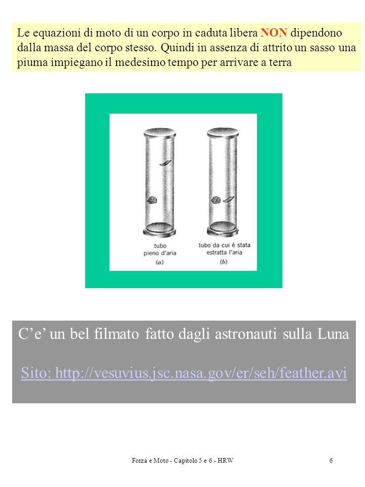 Forza e Moto - Capitolo 5 e 6 - HRW7 Forza Peso Il Peso di un corpo è il modulo della forza netta richiesta per evitare che il corpo cada, quindi per controbilanciare la forza di gravità agente sul corpo