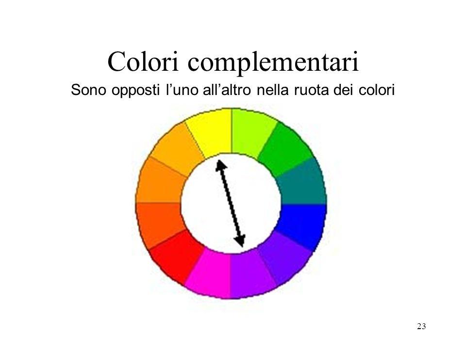 23 Colori complementari Sono opposti luno allaltro nella ruota dei colori