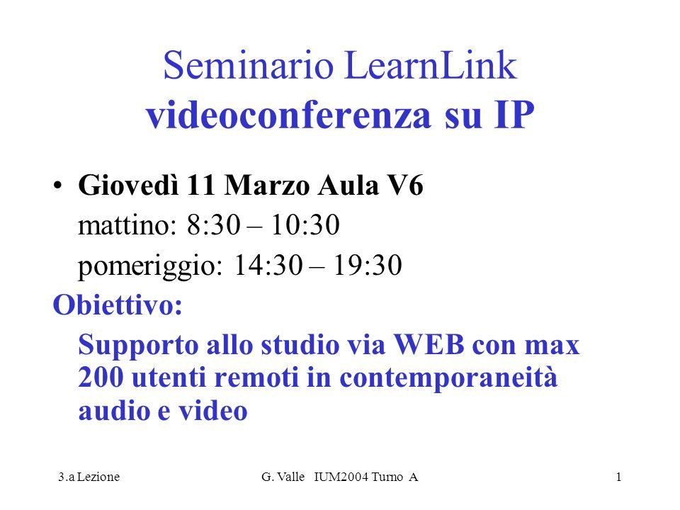 3.a LezioneG. Valle IUM2004 Turno A1 Seminario LearnLink videoconferenza su IP Giovedì 11 Marzo Aula V6 mattino: 8:30 – 10:30 pomeriggio: 14:30 – 19:3