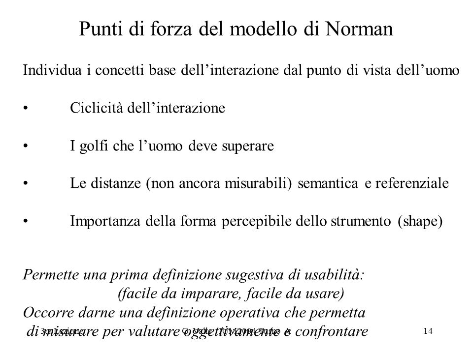 3.a LezioneG. Valle IUM2004 Turno A14 Punti di forza del modello di Norman Individua i concetti base dellinterazione dal punto di vista delluomo Cicli