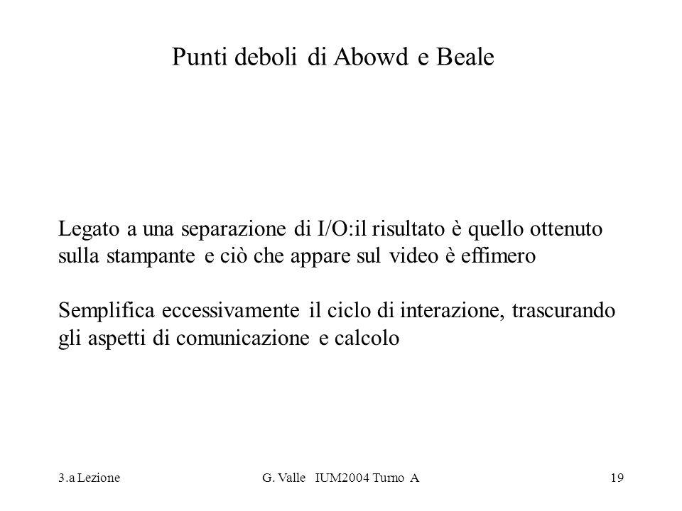 3.a LezioneG. Valle IUM2004 Turno A19 Punti deboli di Abowd e Beale Legato a una separazione di I/O:il risultato è quello ottenuto sulla stampante e c