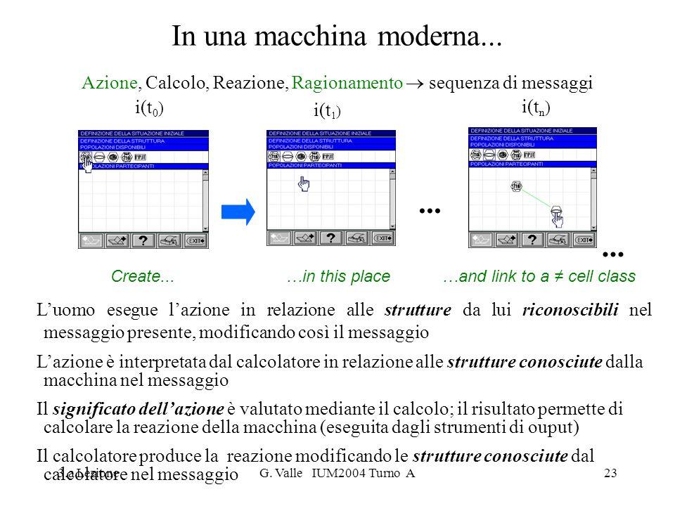 3.a LezioneG. Valle IUM2004 Turno A23 In una macchina moderna... Azione, Calcolo, Reazione, Ragionamento sequenza di messaggi Luomo esegue lazione in