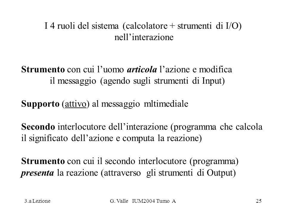 3.a LezioneG. Valle IUM2004 Turno A25 I 4 ruoli del sistema (calcolatore + strumenti di I/O) nellinterazione Strumento con cui luomo articola lazione
