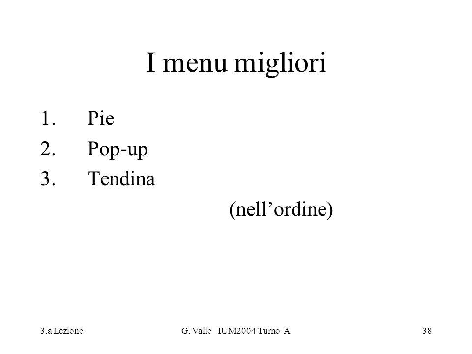 3.a LezioneG. Valle IUM2004 Turno A38 I menu migliori 1. Pie 2.Pop-up 3.Tendina (nellordine)