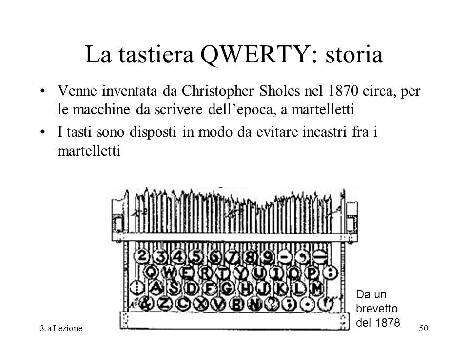 3.a LezioneG. Valle IUM2004 Turno A50 La tastiera QWERTY: storia Venne inventata da Christopher Sholes nel 1870 circa, per le macchine da scrivere del