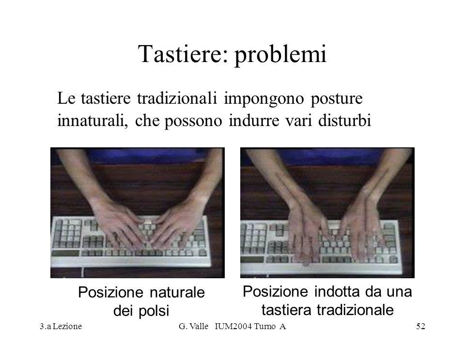 3.a LezioneG. Valle IUM2004 Turno A52 Tastiere: problemi Le tastiere tradizionali impongono posture innaturali, che possono indurre vari disturbi Posi
