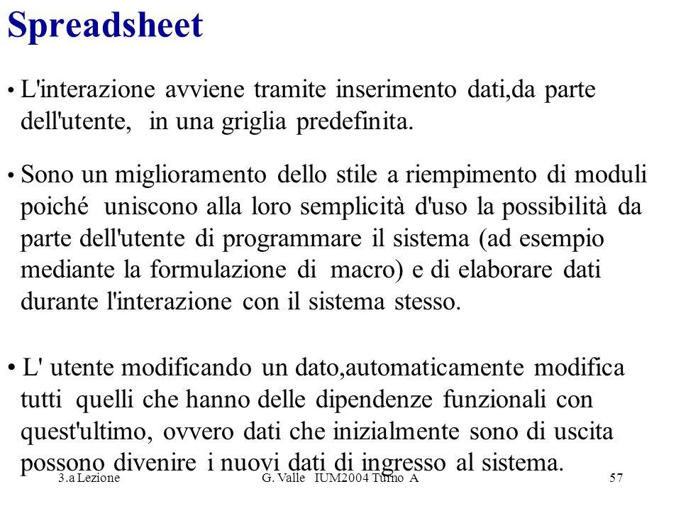 3.a LezioneG. Valle IUM2004 Turno A57 Spreadsheet L'interazione avviene tramite inserimento dati,da parte dell'utente, in una griglia predefinita. Son
