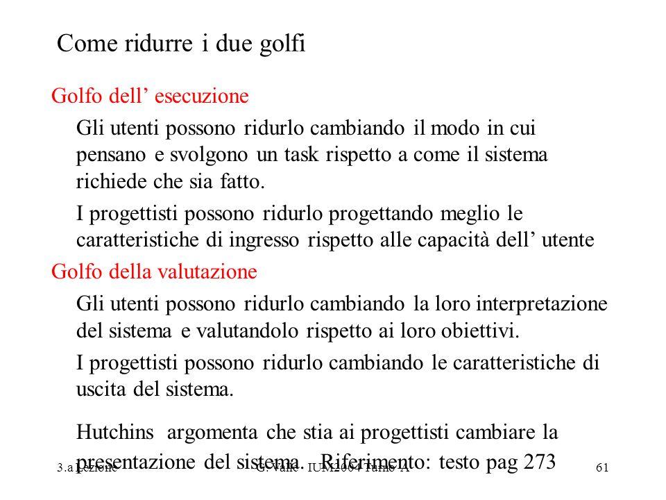 3.a LezioneG. Valle IUM2004 Turno A61 Come ridurre i due golfi Golfo dell esecuzione Gli utenti possono ridurlo cambiando il modo in cui pensano e svo