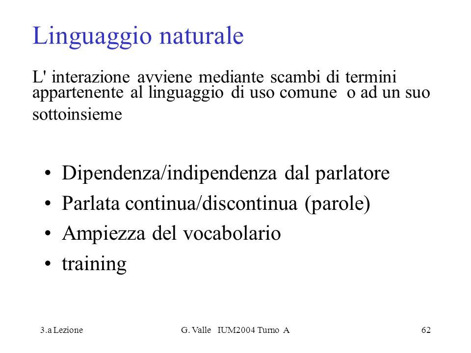 3.a LezioneG. Valle IUM2004 Turno A62 Linguaggio naturale L' interazione avviene mediante scambi di termini appartenente al linguaggio di uso comune o
