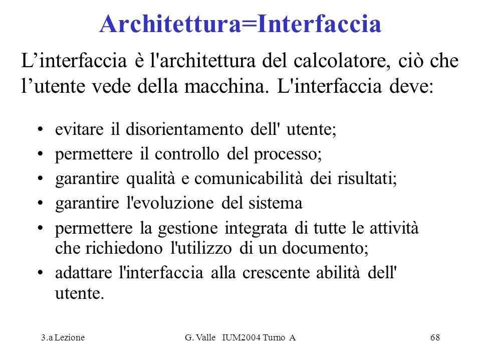 3.a LezioneG. Valle IUM2004 Turno A68 Architettura=Interfaccia evitare il disorientamento dell' utente; permettere il controllo del processo; garantir