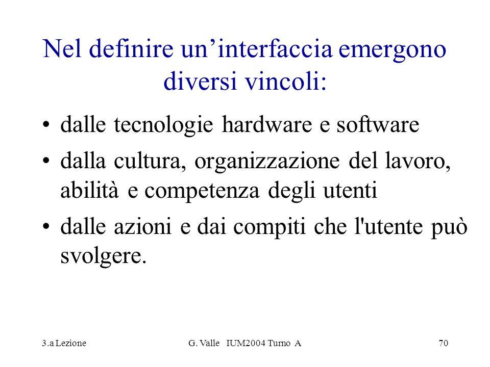 3.a LezioneG. Valle IUM2004 Turno A70 Nel definire uninterfaccia emergono diversi vincoli: dalle tecnologie hardware e software dalla cultura, organiz