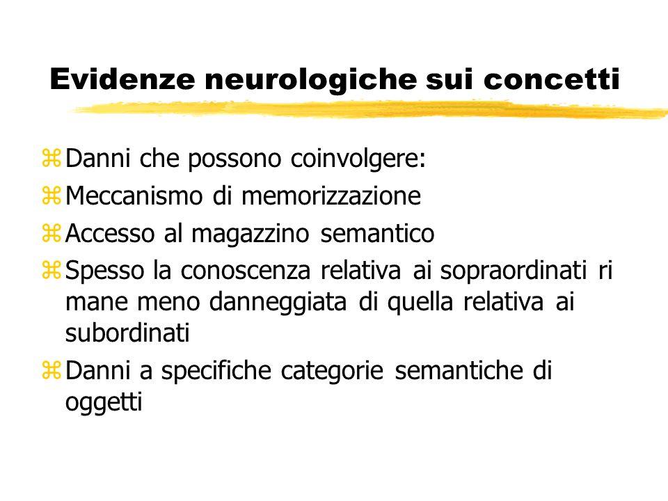 Evidenze neurologiche sui concetti zDanni che possono coinvolgere: zMeccanismo di memorizzazione zAccesso al magazzino semantico zSpesso la conoscenza