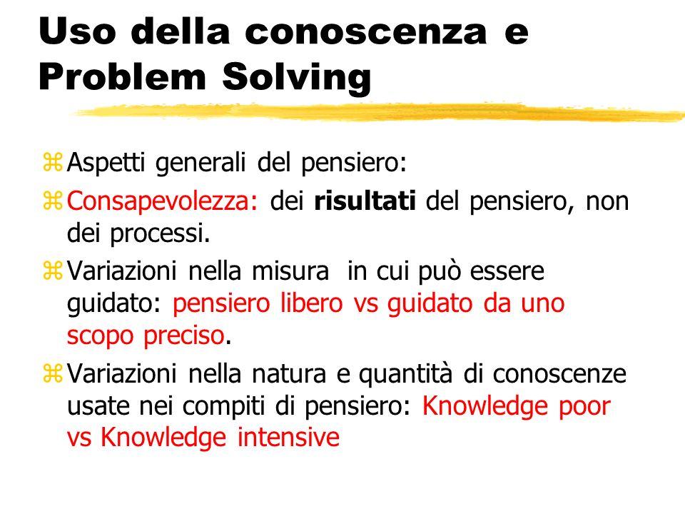 Uso della conoscenza e Problem Solving zAspetti generali del pensiero: zConsapevolezza: dei risultati del pensiero, non dei processi. zVariazioni nell