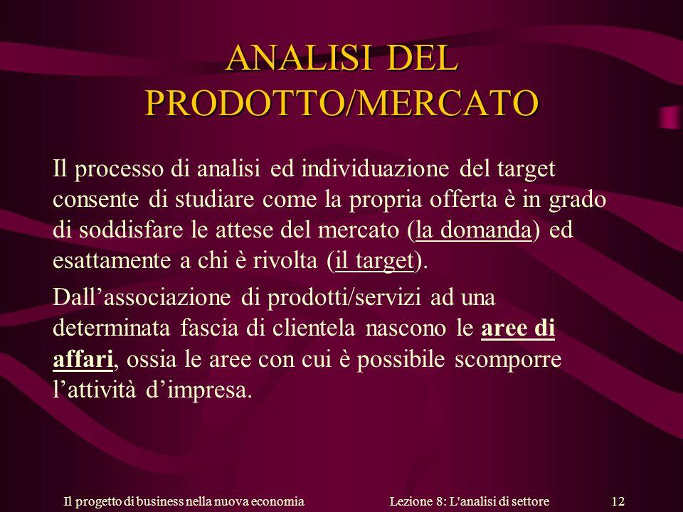Il progetto di business nella nuova economiaLezione 8: L analisi di settore 12 ANALISI DEL PRODOTTO/MERCATO Il processo di analisi ed individuazione del target consente di studiare come la propria offerta è in grado di soddisfare le attese del mercato (la domanda) ed esattamente a chi è rivolta (il target).