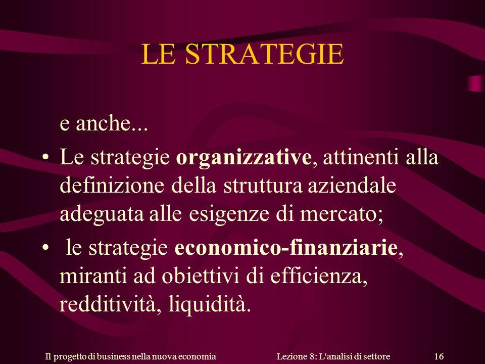 Il progetto di business nella nuova economiaLezione 8: L analisi di settore 16 LE STRATEGIE e anche...