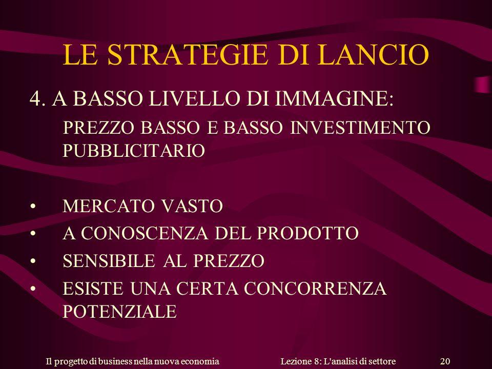 Il progetto di business nella nuova economiaLezione 8: L analisi di settore 20 LE STRATEGIE DI LANCIO 4.